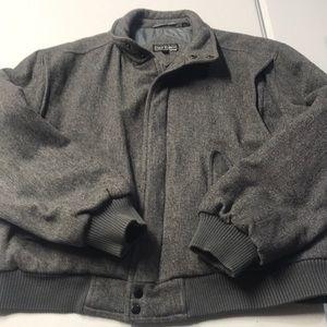 PETER ENGLAND Men's Gray Wool Bomber Coat